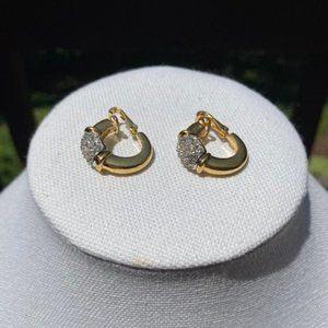 VTG GIVENCHY Gold Tone Rhinestone Hoop Earrings